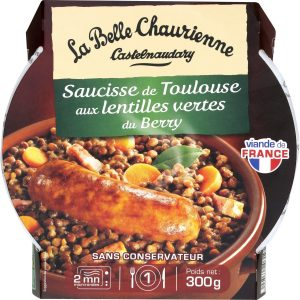 Toulouse sausage with Lentils La Belle Chaurienne - My French Grocery